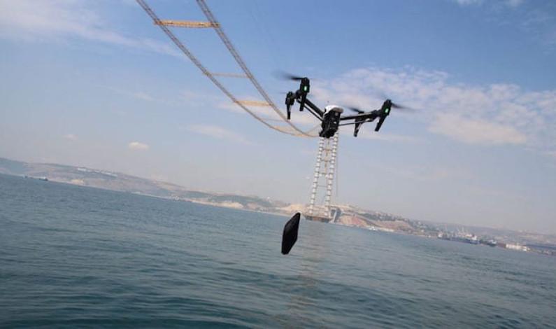 Daha yapılmamış köprünün çekme kapasitesini dronelar ölçtü